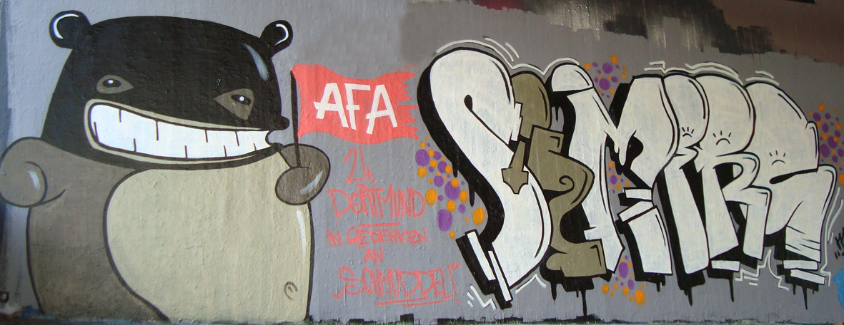 """Mobi-Graffiti für die \""""Schmuddel\""""-Gedenkdemo am 02.04."""